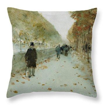 Quai Du Louvre Throw Pillow by Childe Hassam