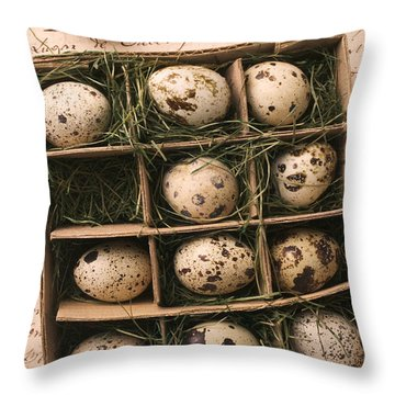 Quail Eggs In Box Throw Pillow by Garry Gay