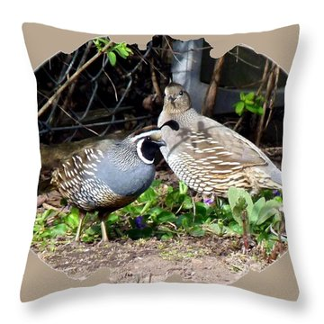 Quail Mates Throw Pillow by Will Borden