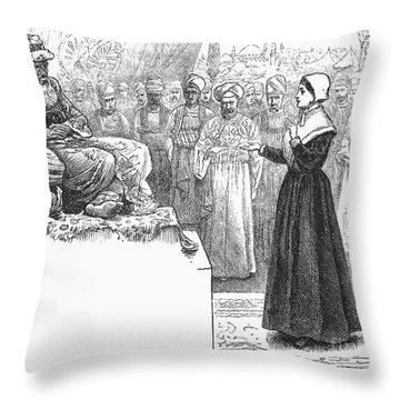 Quaker Missionary, 1658 Throw Pillow by Granger