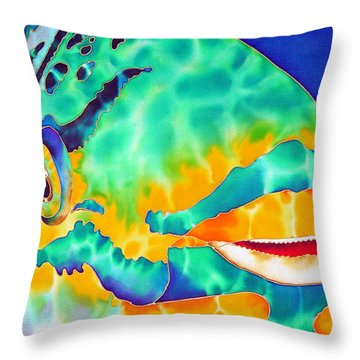 Queen Parrotfish Throw Pillow by Daniel Jean-Baptiste