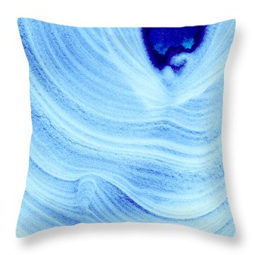 Query Blue Throw Pillow by Jamie Lynn