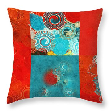 Quilt Seeds Mosaic Throw Pillow by Bonnie Bruno
