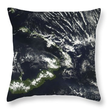 Rabaul Volcano On The Island Of Papua Throw Pillow by Stocktrek Images