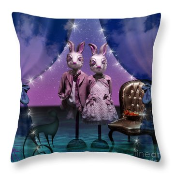Rabbits In Love Throw Pillow