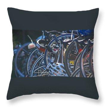 Throw Pillow featuring the photograph Racing Bikes by Sarah McKoy
