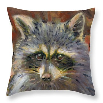 Throw Pillow featuring the painting Racoon by Donald Maier