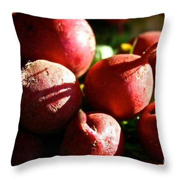 Radishes At Sunrise Throw Pillow by Susan Herber