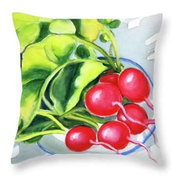 Throw Pillow featuring the painting Radishes On Plate 2 by Inese Poga