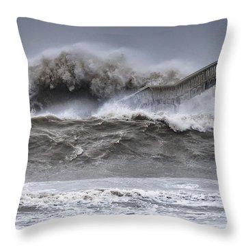 Raging Black Sea Throw Pillow by Evgeni Dinev