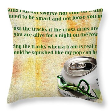 Rail Road Safety In Green Throw Pillow by Andee Design