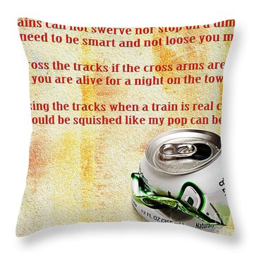 Rail Road Safety In Red Throw Pillow by Andee Design