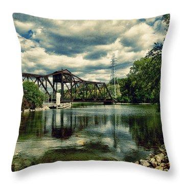 Rail Swing Bridge Throw Pillow by Joel Witmeyer