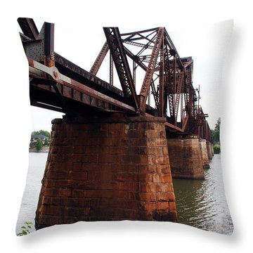 Throw Pillow featuring the photograph Railroad Bridge 1 by Kay Lovingood
