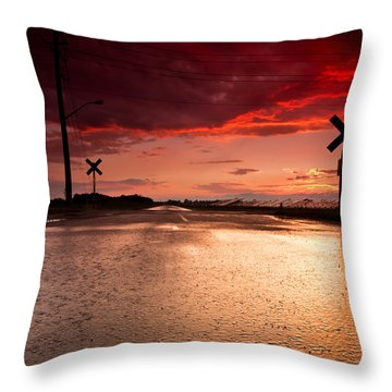 Railroad Sunset Throw Pillow by Cale Best