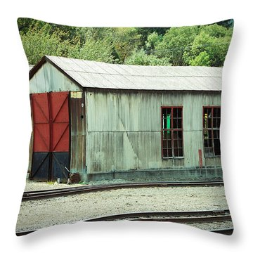 Railroad Woodshed 2 Throw Pillow by Holly Blunkall