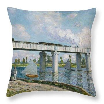 Railway Bridge At Argenteuil Throw Pillow by Claude Monet