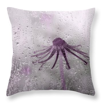 Rain On Me - Pink Throw Pillow by Aimelle