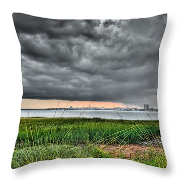 Rain Rolling In On The River Throw Pillow