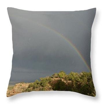 Rainbow At Grand Canyon Throw Pillow