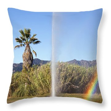 Rainbow At Old Faithful Throw Pillow by Jenna Szerlag