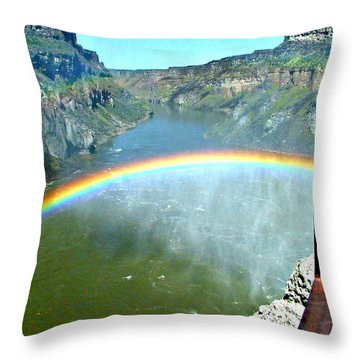 Rainbow At Shoshone Falls Id Throw Pillow