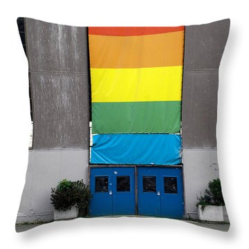 Throw Pillow featuring the photograph Rainbow Banner Building by Kathleen Grace