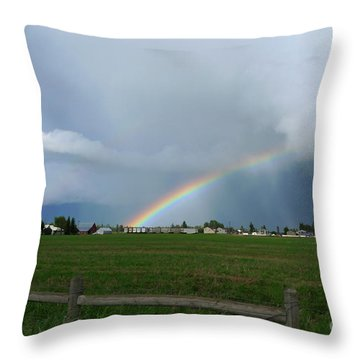 Throw Pillow featuring the photograph Rainbow Before The Storm by Nina Prommer