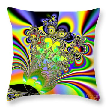 Rainbow Butterfly Bouquet Fractal 56 Throw Pillow by Rose Santuci-Sofranko