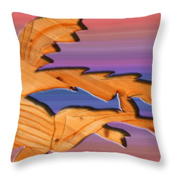 Rainbow Dinosaur Fish Throw Pillow by Robert Margetts