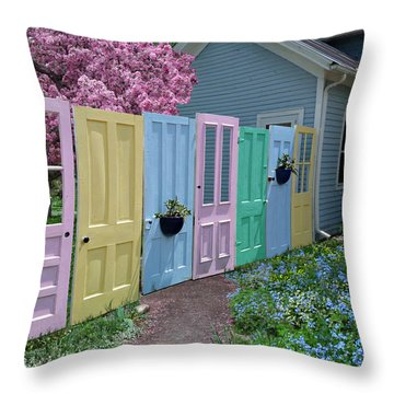 Throw Pillow featuring the photograph Rainbow Doors by Judy  Johnson
