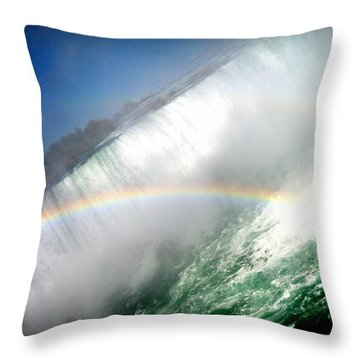 Throw Pillow featuring the photograph Rainbow For The Maid Of The Mist by Danielle  Parent
