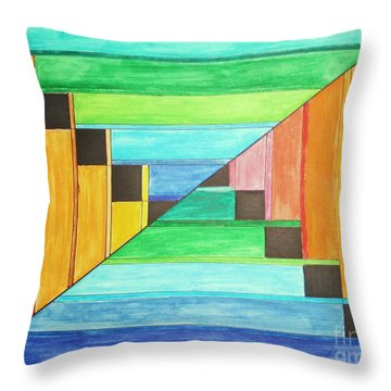 Rainbow In Line Throw Pillow
