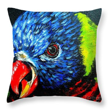 Throw Pillow featuring the painting Rainbow Lorikeet Look by Julie Brugh Riffey