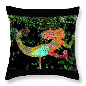 Rainbow Mermaid Throw Pillow