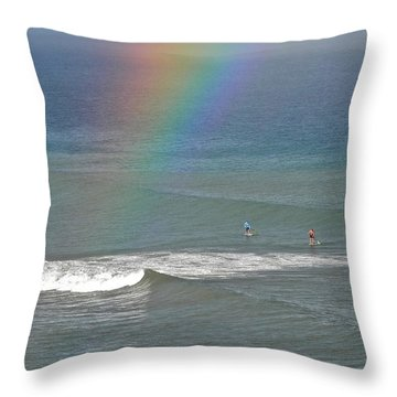 Rainbow Mists And Surfing Too Throw Pillow by Kirsten Giving