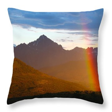 Rainbow Mountain Throw Pillow