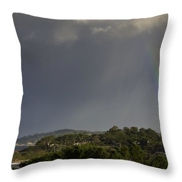 Rainbow Over Carmel Throw Pillow by Mike Herdering