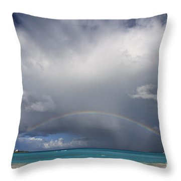 Rainbow Over Emerald Bay Throw Pillow by Dennis Hedberg