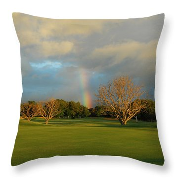 Throw Pillow featuring the photograph Rainbow Over Princeville by Lynn Bauer