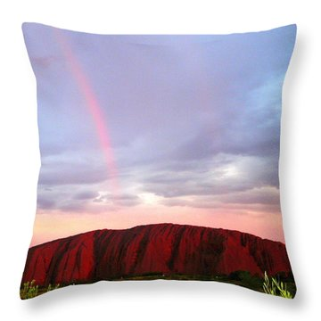 Throw Pillow featuring the photograph Rainbow Over Uluru by Laurel Talabere