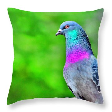 Rainbow Pigeon Throw Pillow