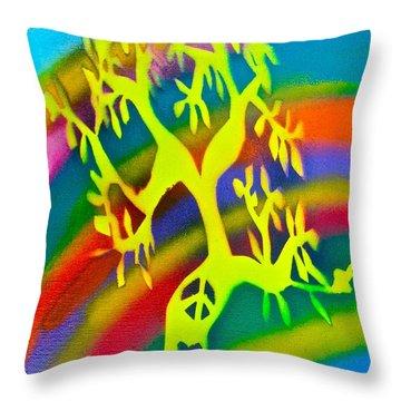 Rainbow Roots Throw Pillow by Tony B Conscious