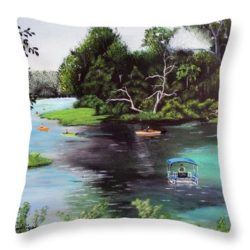 Rainbow Springs In Florida Throw Pillow by Luis F Rodriguez