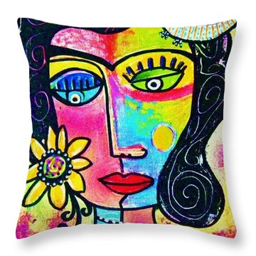 Rainbow Sunshine Frida Throw Pillow