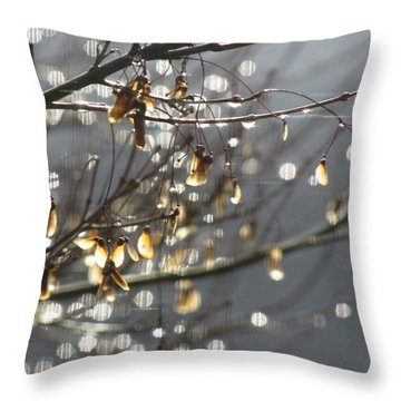 Raindrops And Leaves Throw Pillow by Katie Wing Vigil