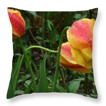 Raindrops And Tulips Throw Pillow