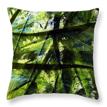 Rainforest Abstract Throw Pillow by Bonnie Bruno