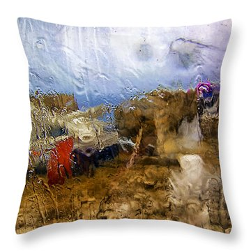 Rainy Day Abstract 3 Throw Pillow by Madeline Ellis
