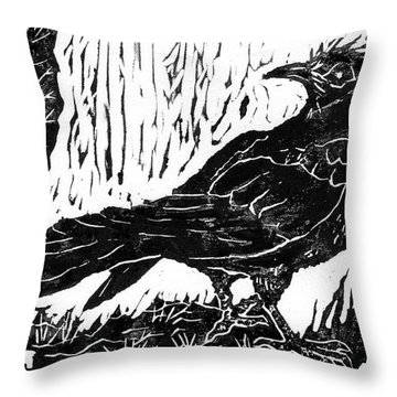 Rainy Day Crow Throw Pillow by Ellen Miffitt